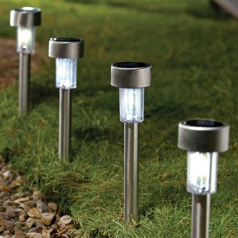 solar powered garden lights set of 6 solar powered led stake spike lights cool white