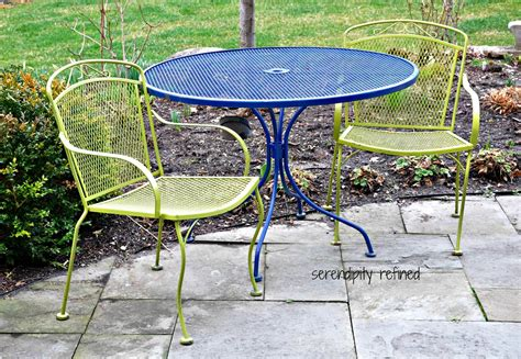 serendipity refined white spray painted metal patio furniture and tea in my garden