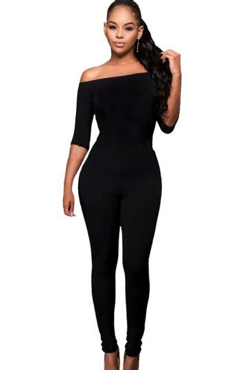 One Shoulder Jumpsuit Dress Import Bangkok womens shoulder half sleeve high waist elastic jumpsuit black pink