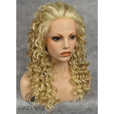 blonde highlighted wigs curly highlighted blonde long wig lace front wig wigs online