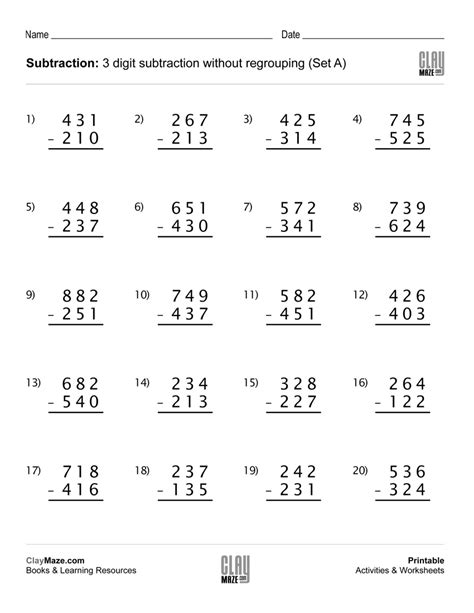Digit Subtraction Worksheets by Subtraction Worksheet 3 Digit Subtraction Without