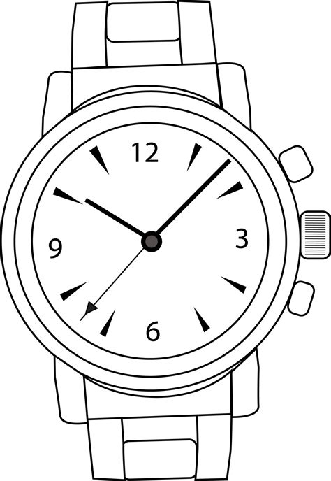 Library of wrist watch vector graphic black and white png