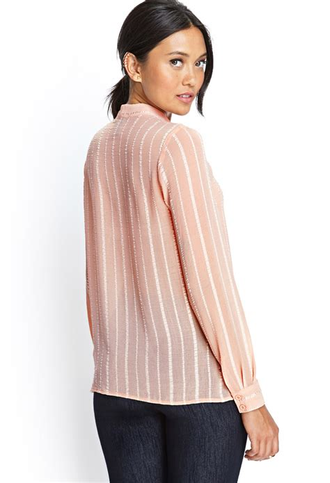 Holden Striped Sheer Sleeve Blouse by Forever 21 Sheer Striped Blouse In Pink Lyst