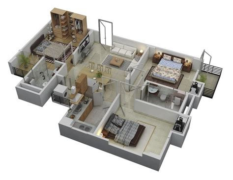 three bedroom floor plan 3 bedroom apartment house plans