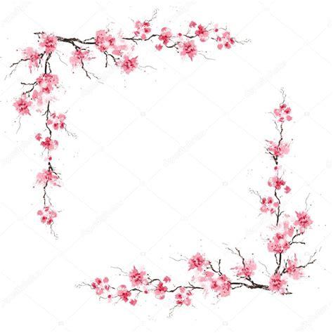 border pattern  blossoming sakura stock photo