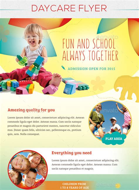 free childcare templates 7 day care flyers psd format