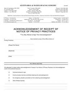 acknowledgement of receipt of notice of privacy practices