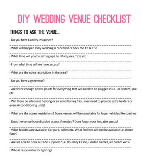 Wedding Reception Checklist Pdf by Printable Wedding Checklist 9 Free Pdf Documents
