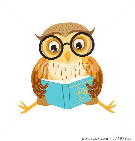 owl reading book owl reading the book cute cartoon character emoji stock