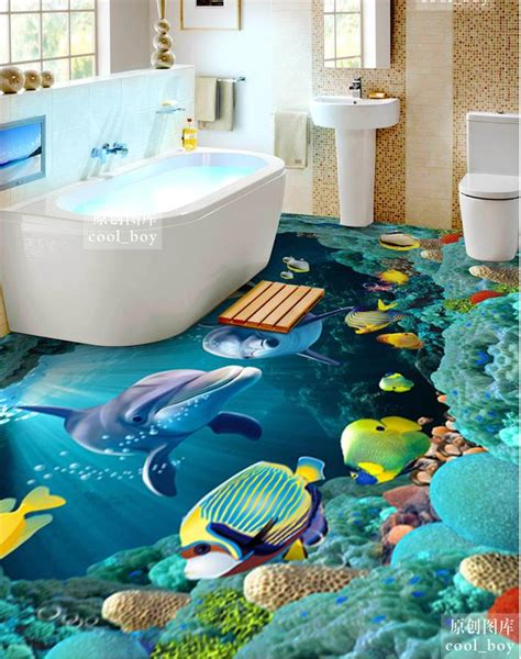 3d floor painting wallpaper underwater world mermaid 3d floor pvc 3d bathroom floor designs for vibrant look