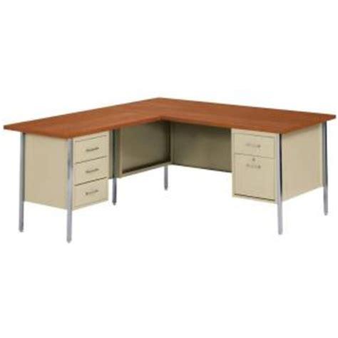 L Shaped Metal Desk Sandusky Industrial Strength Steel L Shaped Pedestal Desk At Home Depot Desks Workspace Furniture