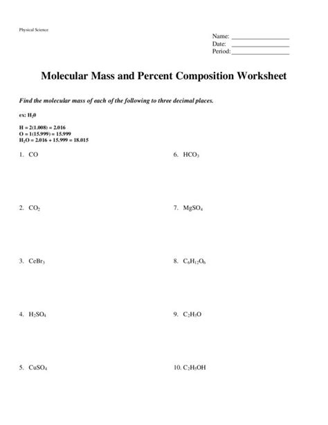 Percent Composition By Mass Worksheet