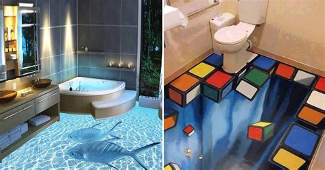 bathroom floor 3d art murals on walls are great but these 3d floors transform