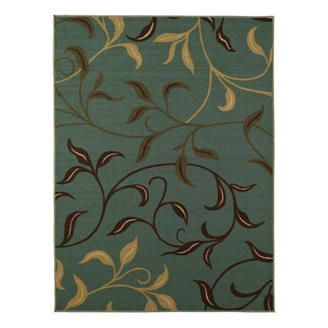Area Rugs 5 X 6 Ottomanson Ottohome Collection Contemporary Leaves Design Aqua Blue 5 Ft X 6 Ft 6 In Area Rug