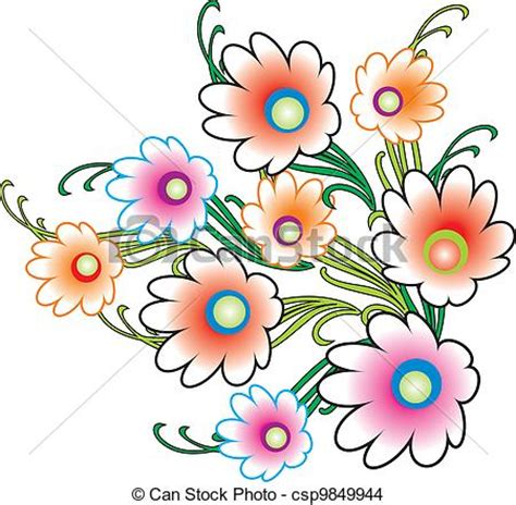 How To Draw A Vase Of Flowers Step By Step Eps Vector Of Bunch Of Flowers Csp9849944 Search Clip