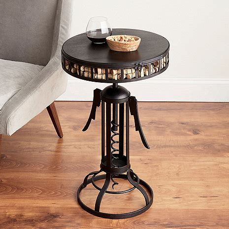 barrel cork catcher accent table winged corkscrew cork catcher accent table wine enthusiast