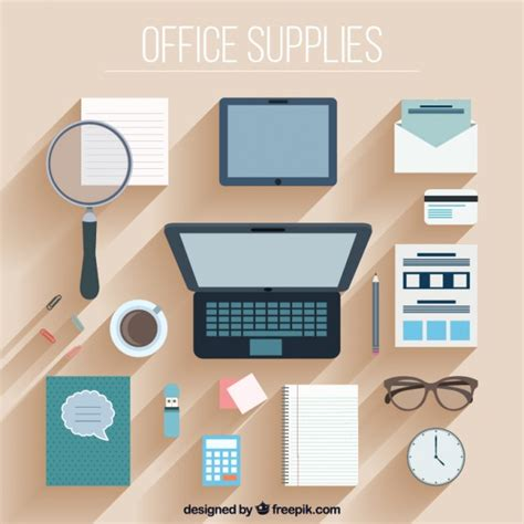 flat design office accessory collection in flat design vector free