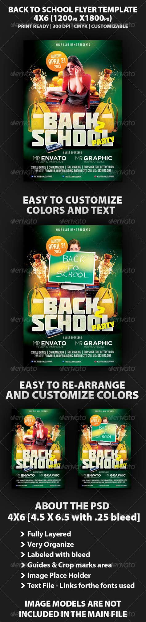 Back To School Party Flyer Template By Mikkool Graphicriver Back To School Bash Flyer Template Free