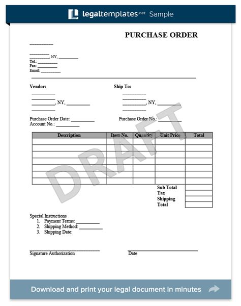 access order form template create a purchase order form in minutes legaltemplates