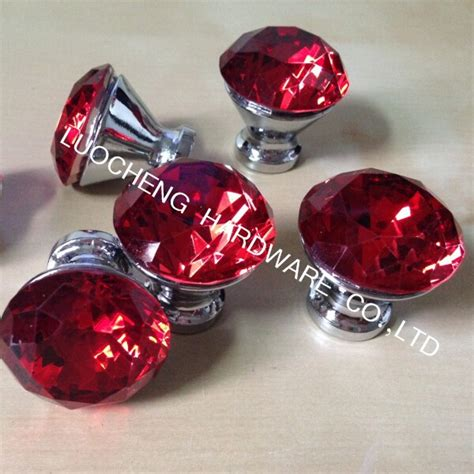 red kitchen cabinet knobs 10pcs lot 30mm zinc alloy red diamond crystal kitchen