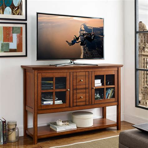 console table with glass doors walker edison w52c4ctrb 52 quot wood console table tv stand in