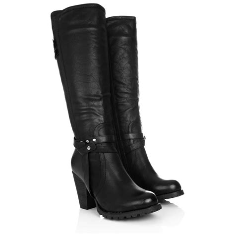 heeled biker boots womens block heel zip knee high biker boots size 3 8