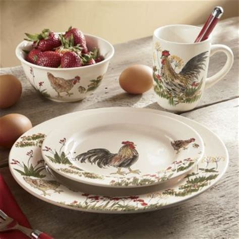 paula deen 16 piece southern rooster dinnerware set from