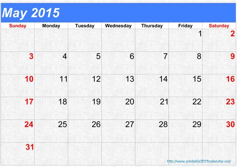 Blank May 2015 Calendar Yearly Blank Calendar Templates Free Editable