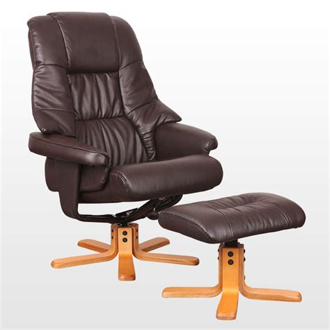 recliner swivel chair and stool new real leather swivel recliner chair w foot stool