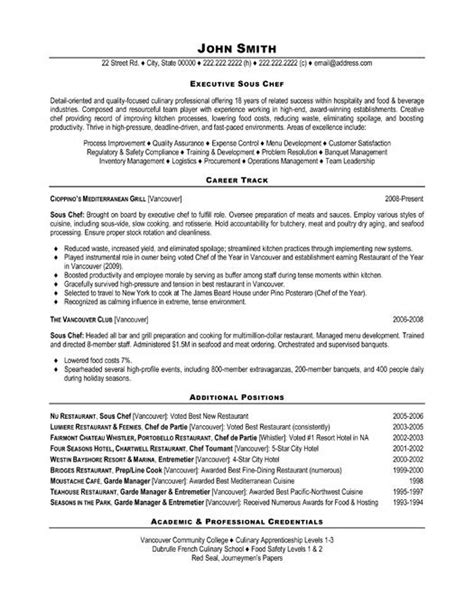chef resume template free the best sle resume for sous chef