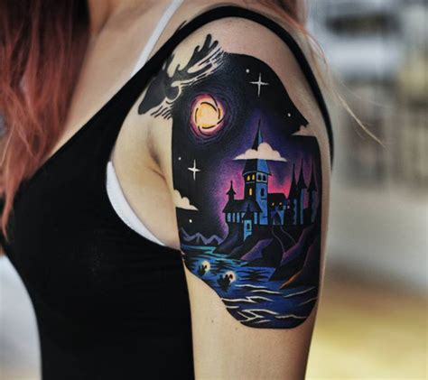 shoulder piece tattoo designs hogwarts shoulder best design ideas