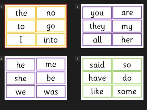 Tricky Words Printable phonics tricky words flash cards 2 5 colour coded