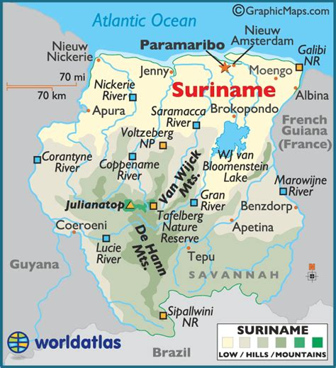 where is suriname on a map suriname karte st 228 dte