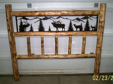 king size rustic iron style pine log bed headboard