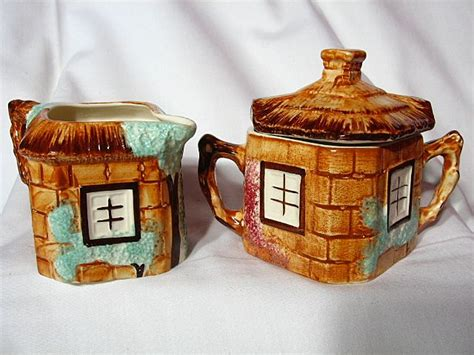 keele pottery cottage ware creamer covered sugar