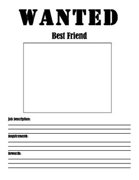 printable wanted poster for classroom best friend wanted poster by activity based learning tpt