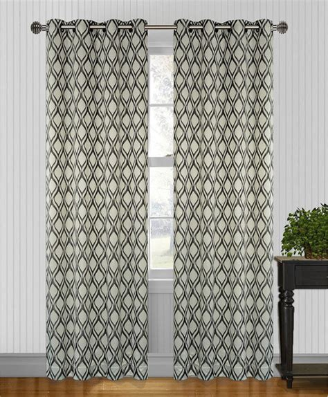 95 inch panel curtains hourglass grey black 95 inch curtain panel pair
