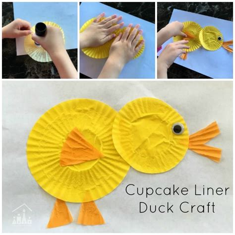 How To Make A Duck Beak Out Of Paper - cupcake liner duck craft crafty at home