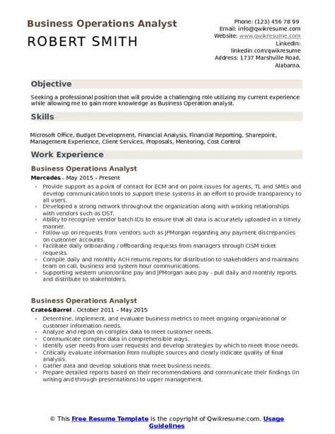 Financial Operations Analyst Resume by Business Operations Analyst Resume Sles Qwikresume