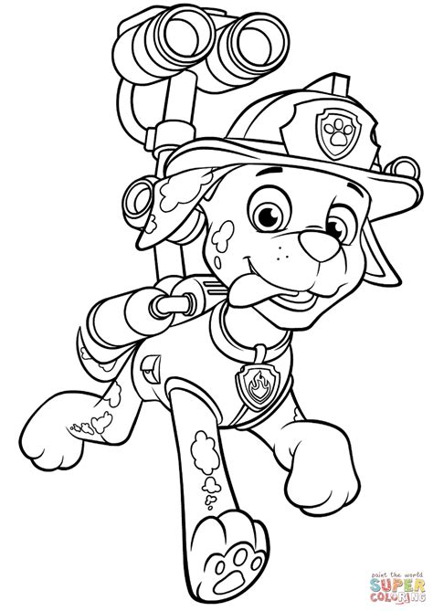 paw patrol blank coloring pages to print paw patrol marshall with water cannon coloring page free