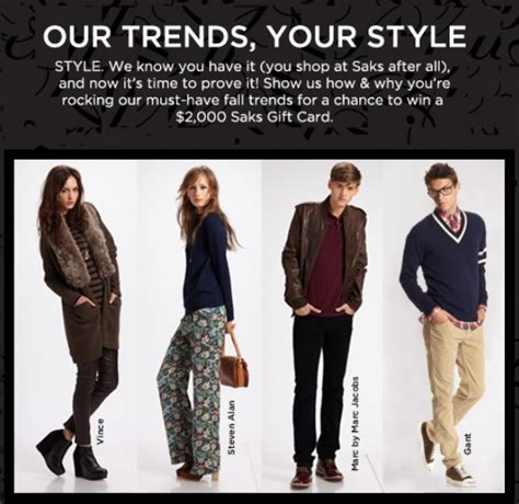 Win A 3000 Saks Shopping Spree by Win 2 000 Shopping Spree Show Saks Your Style The