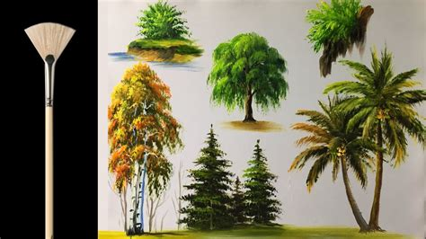 fan brush oil painting how to paint trees with fan brush acrylic lesson doovi