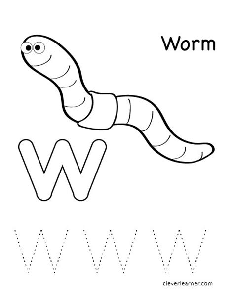 W Is For Worm Coloring Page by Letter W Writing And Coloring Sheet