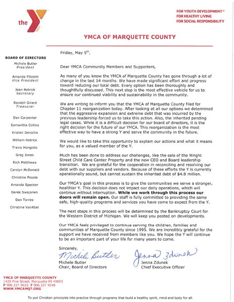 Financial Assistance Letter For Ymca peninsula ymca files for chapter 11 bankruptcy