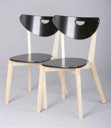chaise cuisine noir chaises de cuisine bois massif coloris noir lot de 2