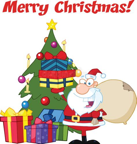merry christmas greeting  santa claus holding   stack  gifts   christmas tree stock