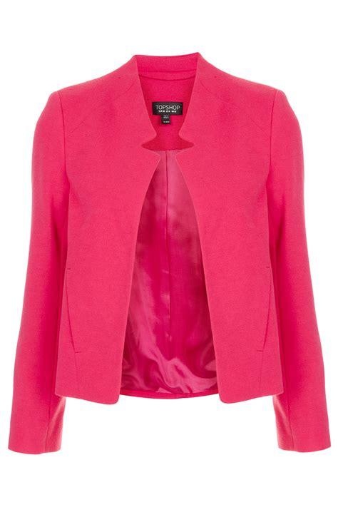 topshop ponte notch neck jacket in pink lyst