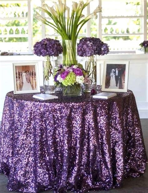 Dining Room Table Cloths by 120 Round Purple Sequin 60 Inch Table Linen By Sparklesoiree