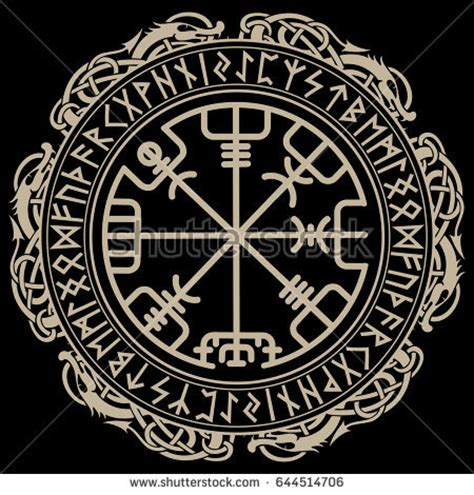 viking design magical runic compass vegvisir stock vector