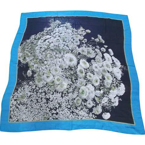 Royal Satyn Italy Scraf White valentino silk scarf vintage royal blue black white babies breath sold on ruby
